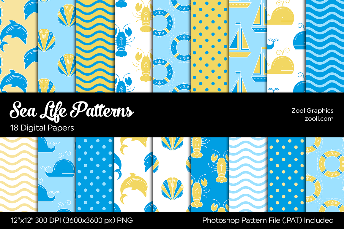 Sea Life Digital Papers example image 1