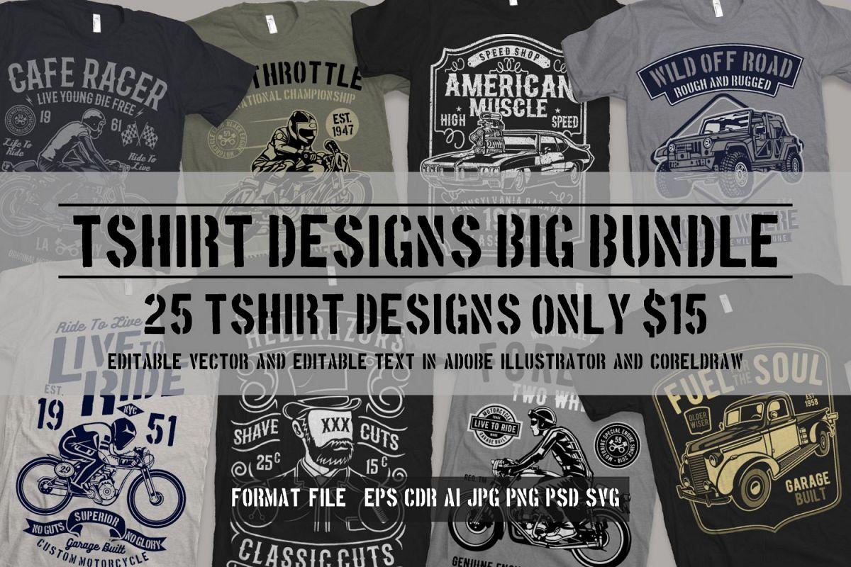 25 Premium Tshirt Designs Big Bundle Free Download