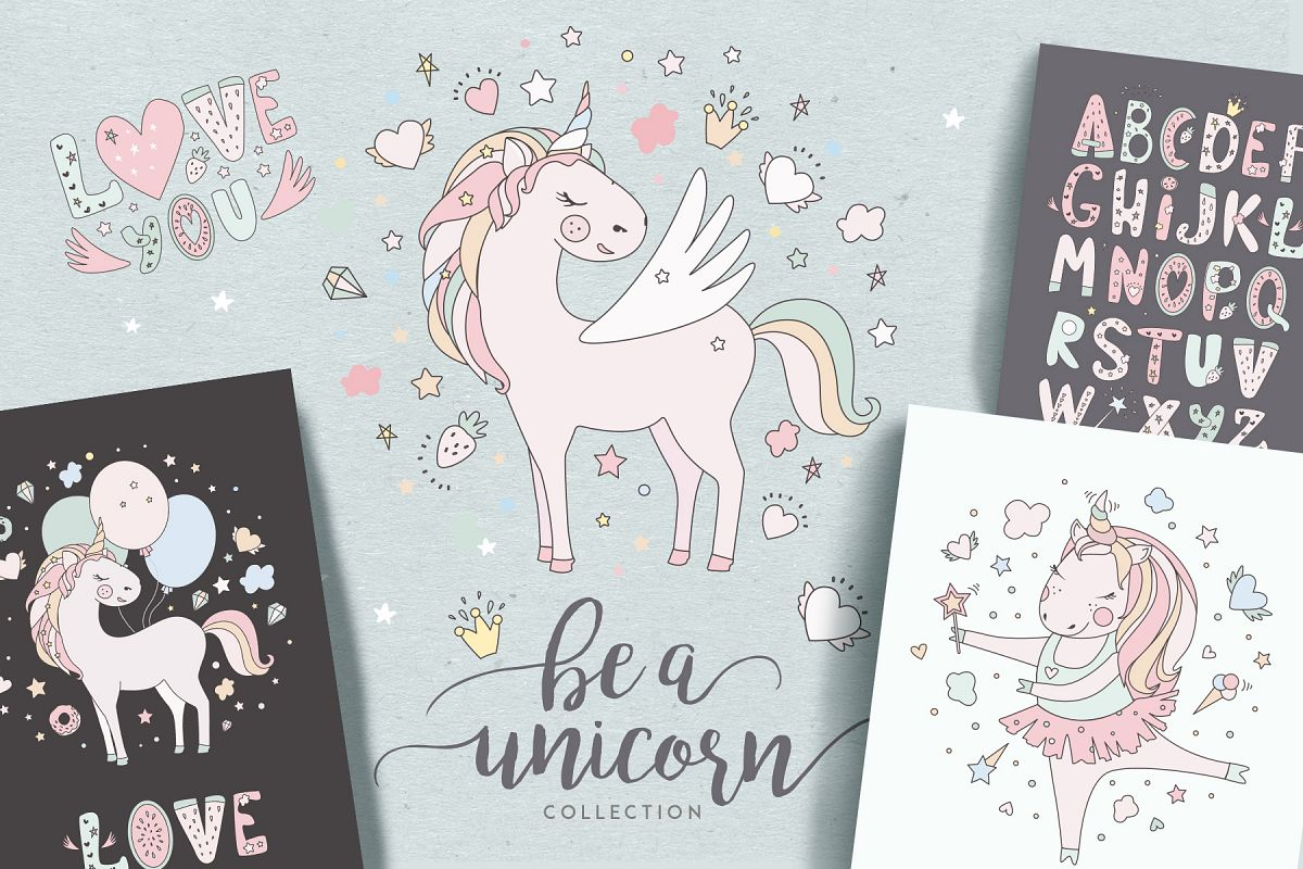 Magical collection of unicorns example image 1
