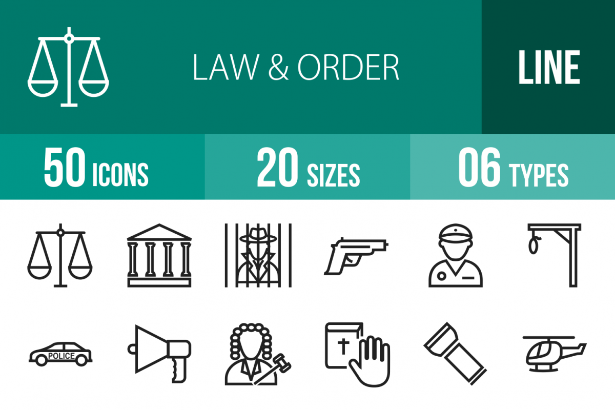 50 Law & Order Line Icons example image 1