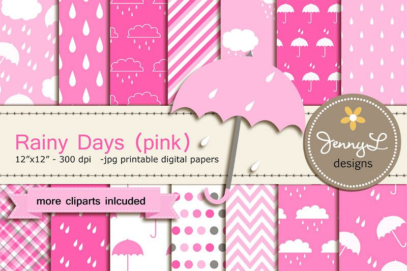 2b1a1f5a0 Umbrella Digital papers and Clipart, Rainy Day, Rain, Cloud for Birthday,  Baby