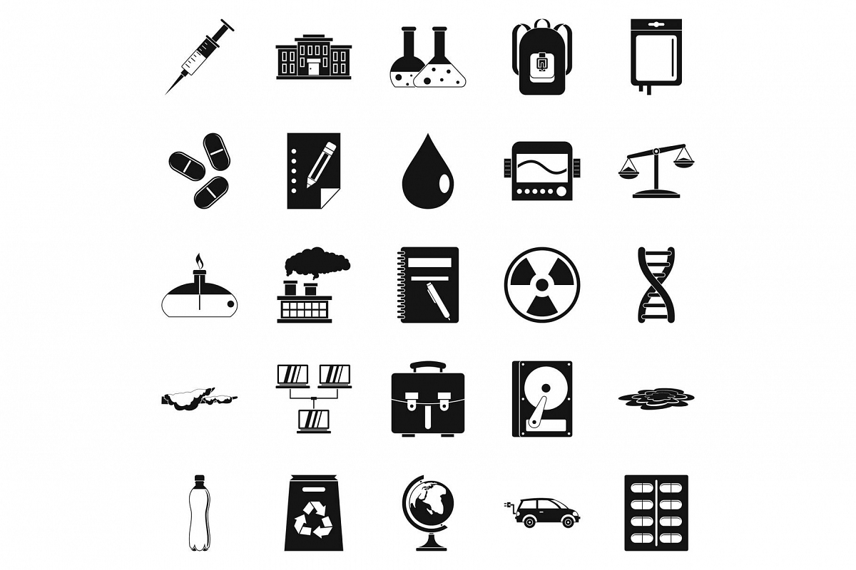 Experiment icons set, simple style example image 1