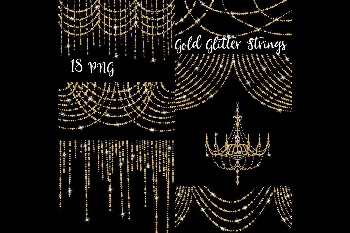 Gold Glitter String Lights Clipart example image 1