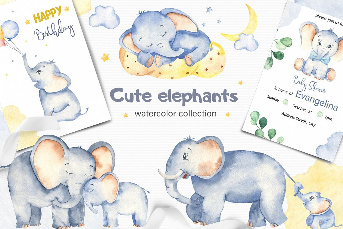 Cute elephants watercolor collection clipart example image 1