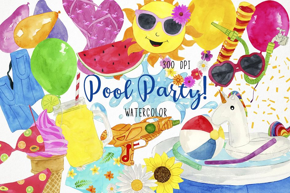 Watercolor Pool Party Clipart Swim Example Image 1