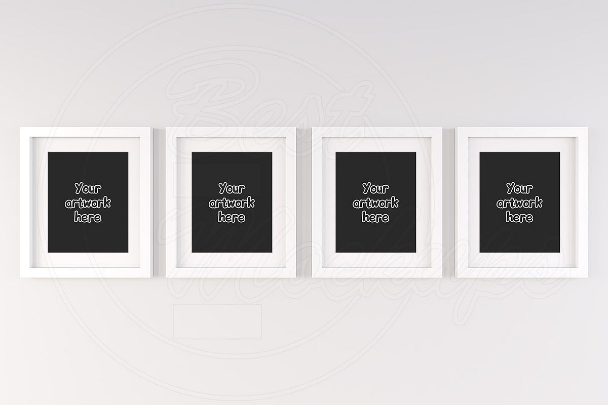 Top 4 white wall frames mockup 8x10\