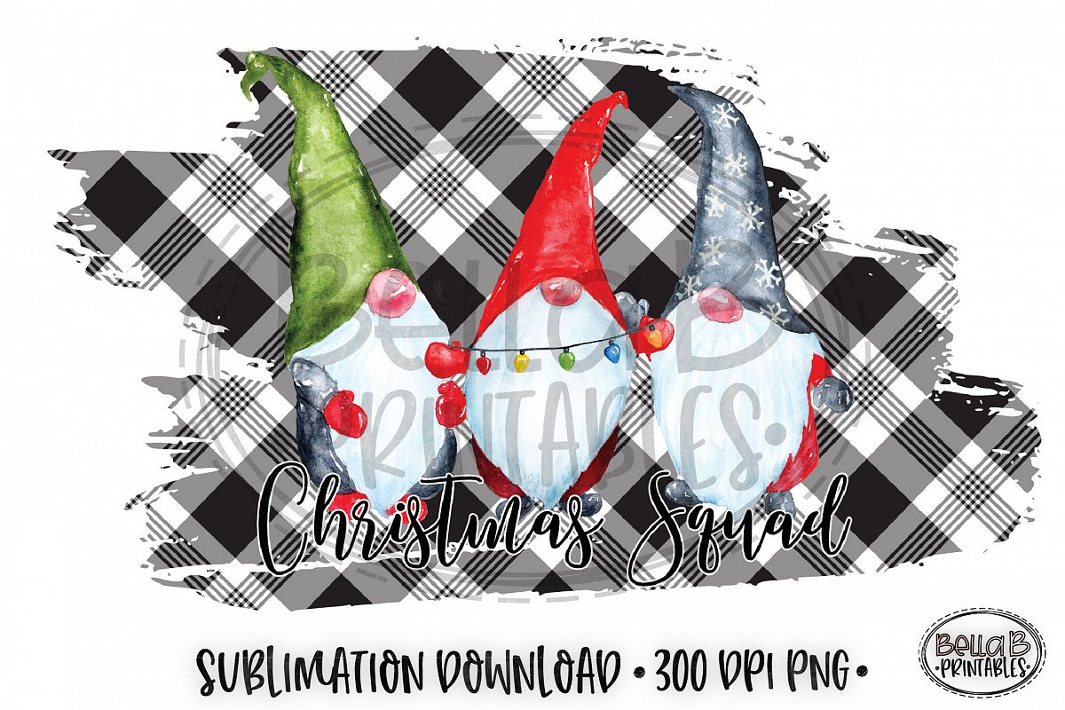 Christmas Sublimation Design, Christmas Squad Gnomes, Plaid example image 1