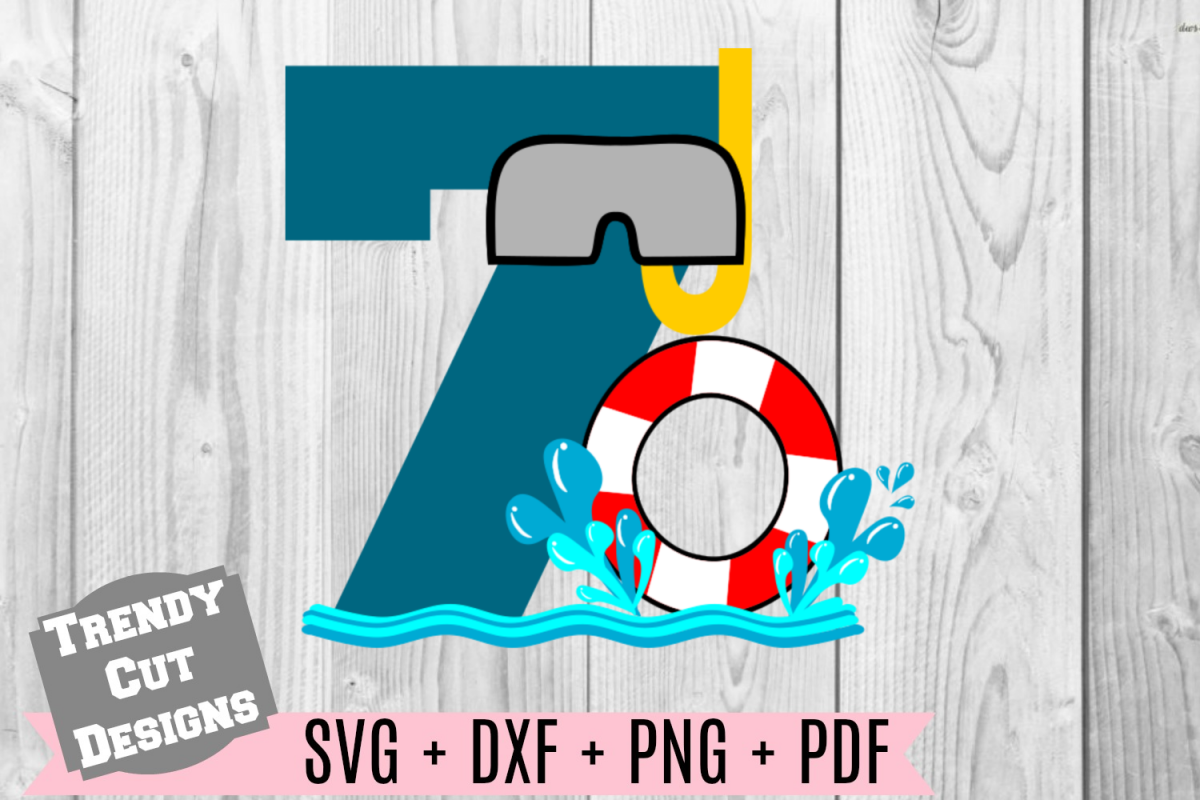 Pool Party Number 7th Birthday SVG example image 1