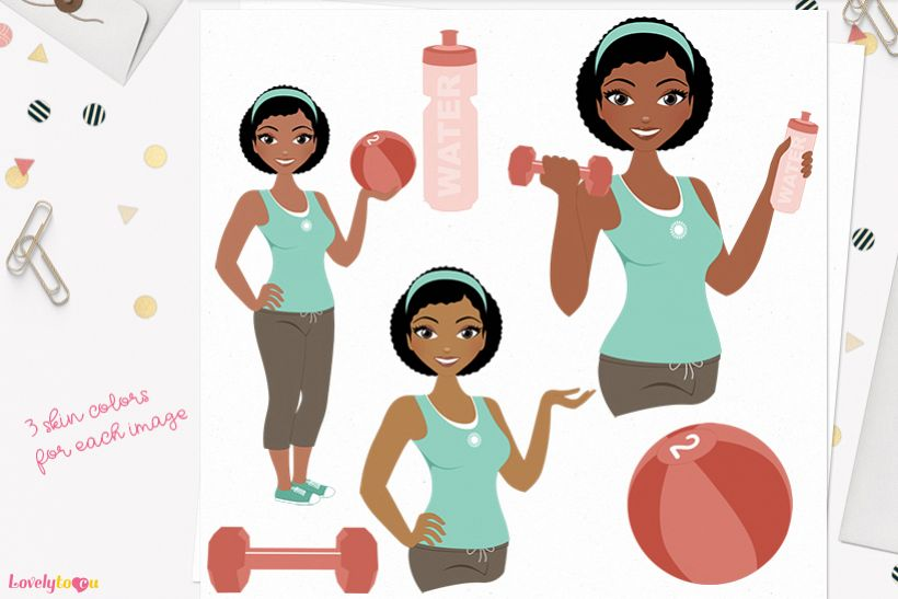 Woman workout character clip art L084 Neve example image 1