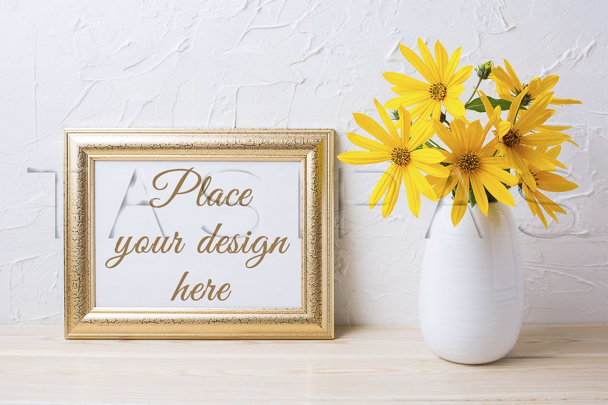 Landscape golden frame mockup with yellow rosinweed flowers example image 1