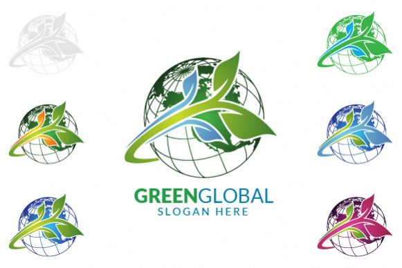 Green Global Ecology logo template example image 1