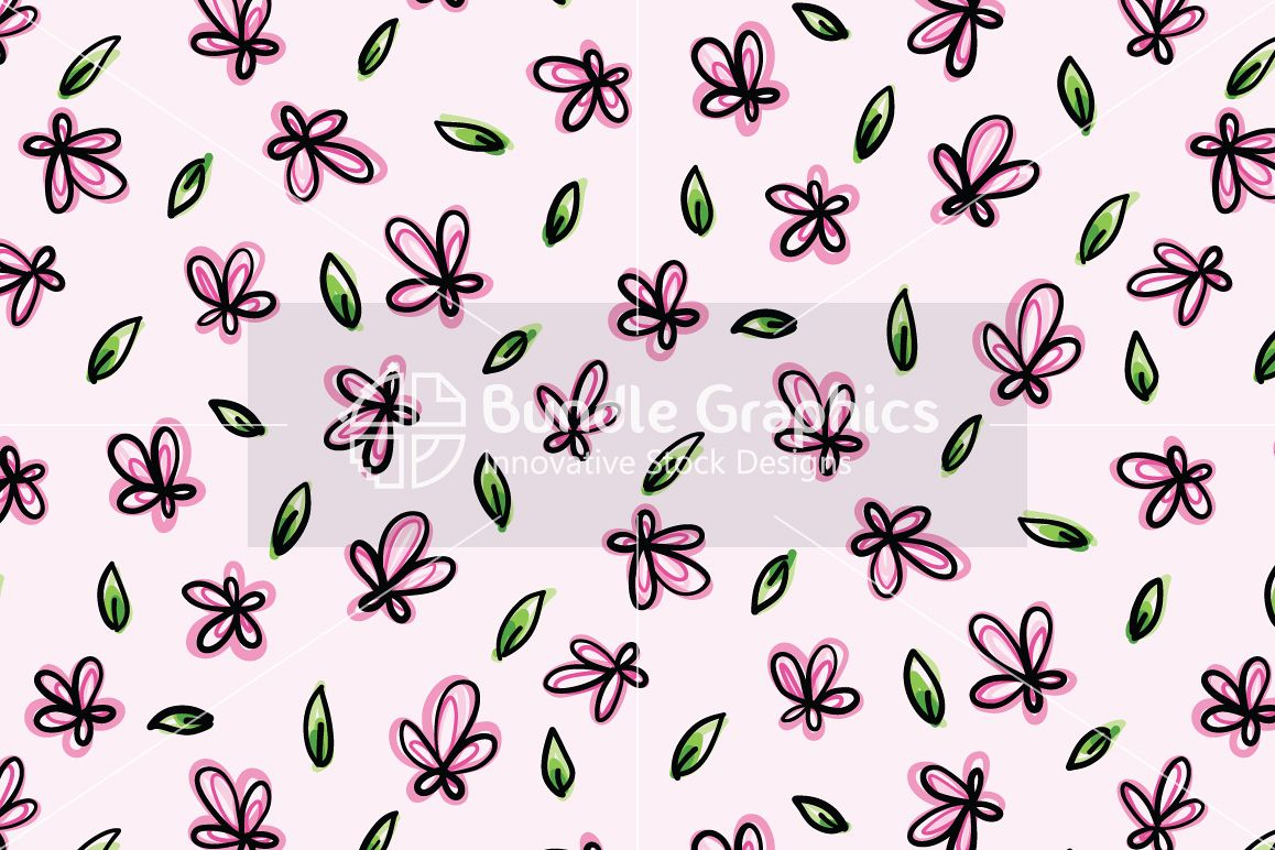 Pink Flowers - Organic Style  Freehand Graphic Background example image 1