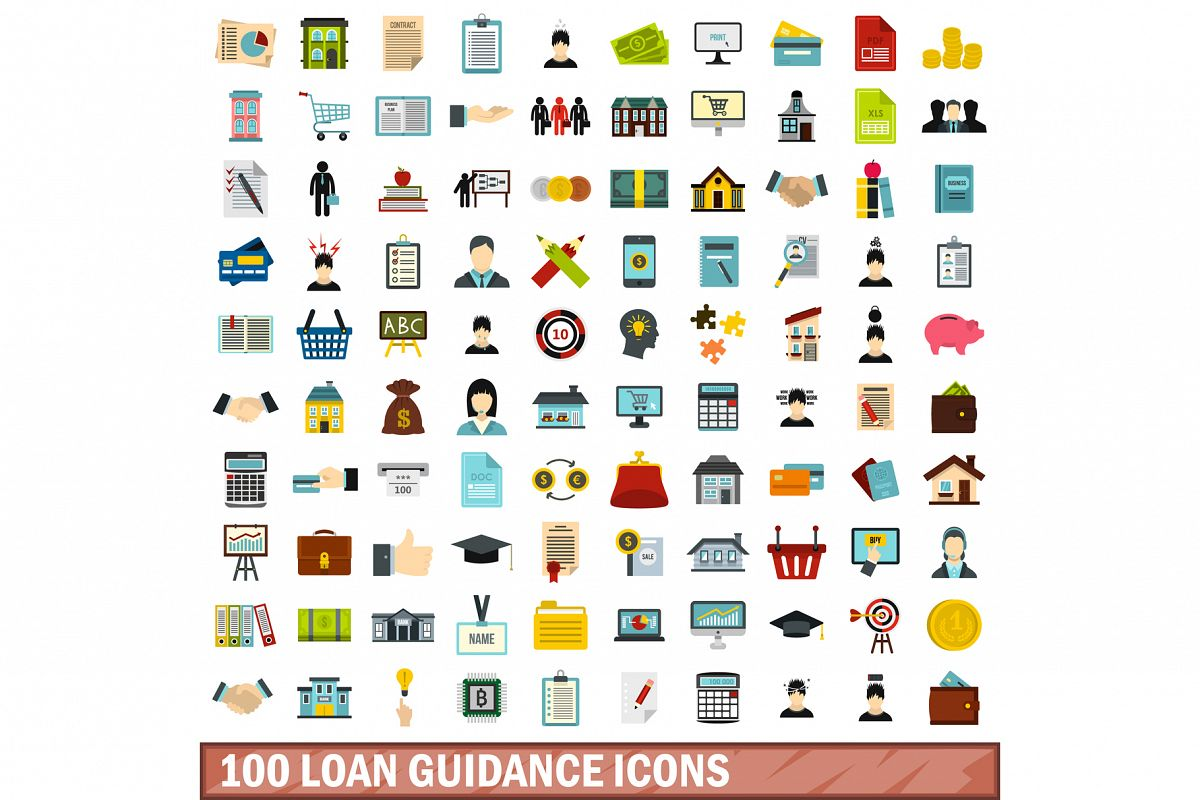100 loan guidance icons set, flat style example image 1