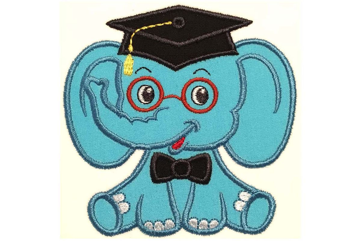 Graduation Baby Boy Elephant Machine Embroidery Applique Design
