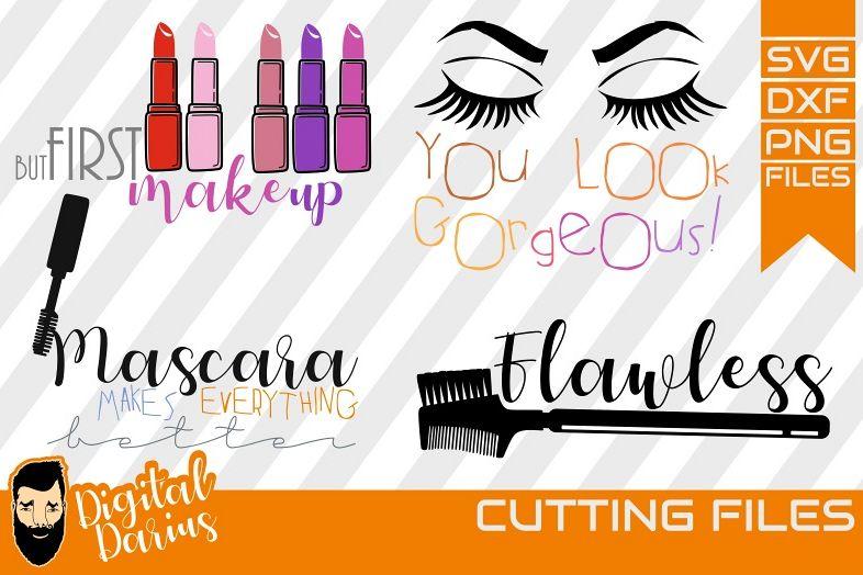 4x Make up svg, Mascara svg, Eyelashes svg, Vector, Cricut example image 1