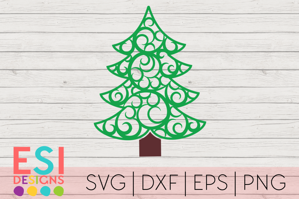 Swirly Christmas Tree Design Svg Dxf Eps Png Example Image 1