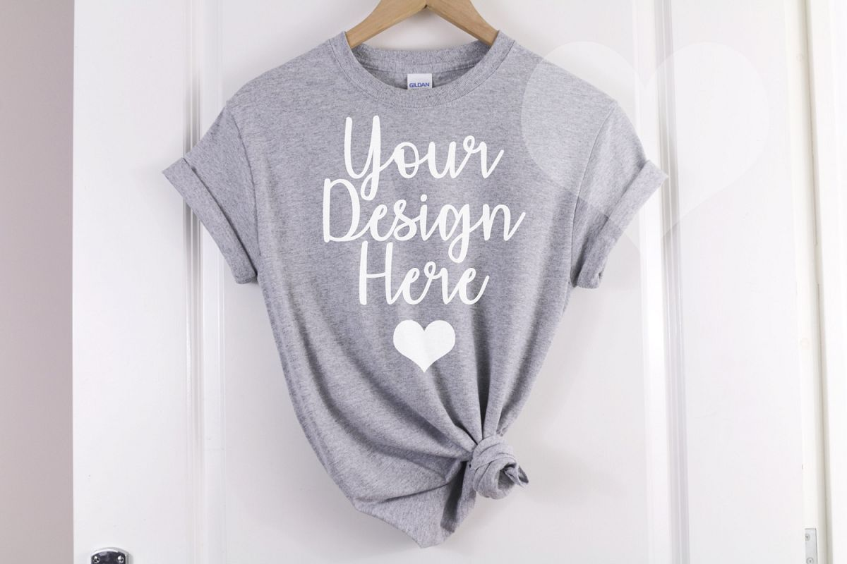 Sport Grey Gildan 500 T shirt Unisex - Hanging Mockup example image 1