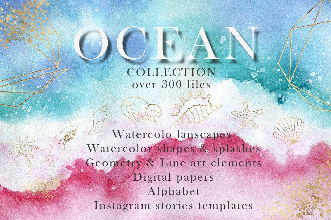 Ocean watercolor collection example image 1