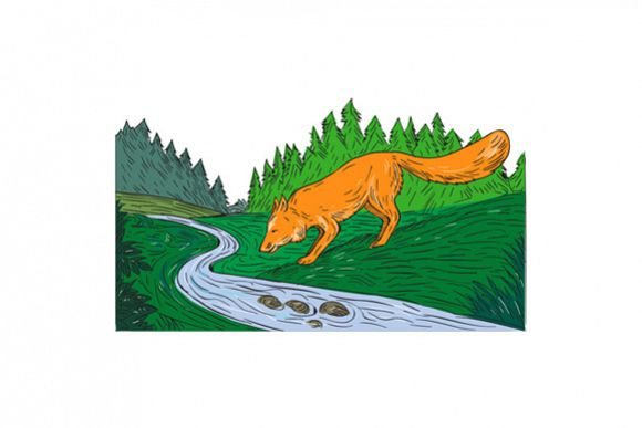 Fox Drinking River Woods Creek Drawing example image 1