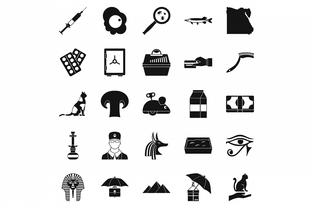 Egyptian cats icons set, simple style example image 1