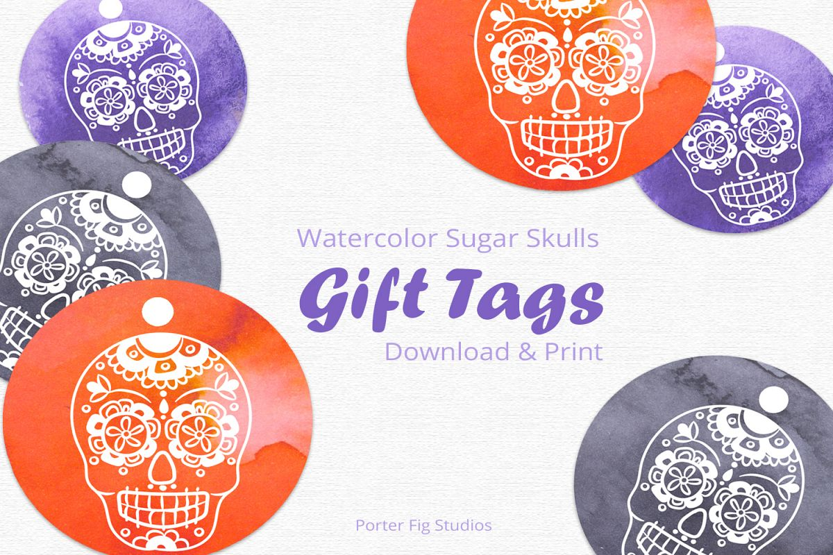 graphic regarding Printable Halloween Gift Tags known as Printable Halloween Reward Tags Sugar Skull Working day of the Useless