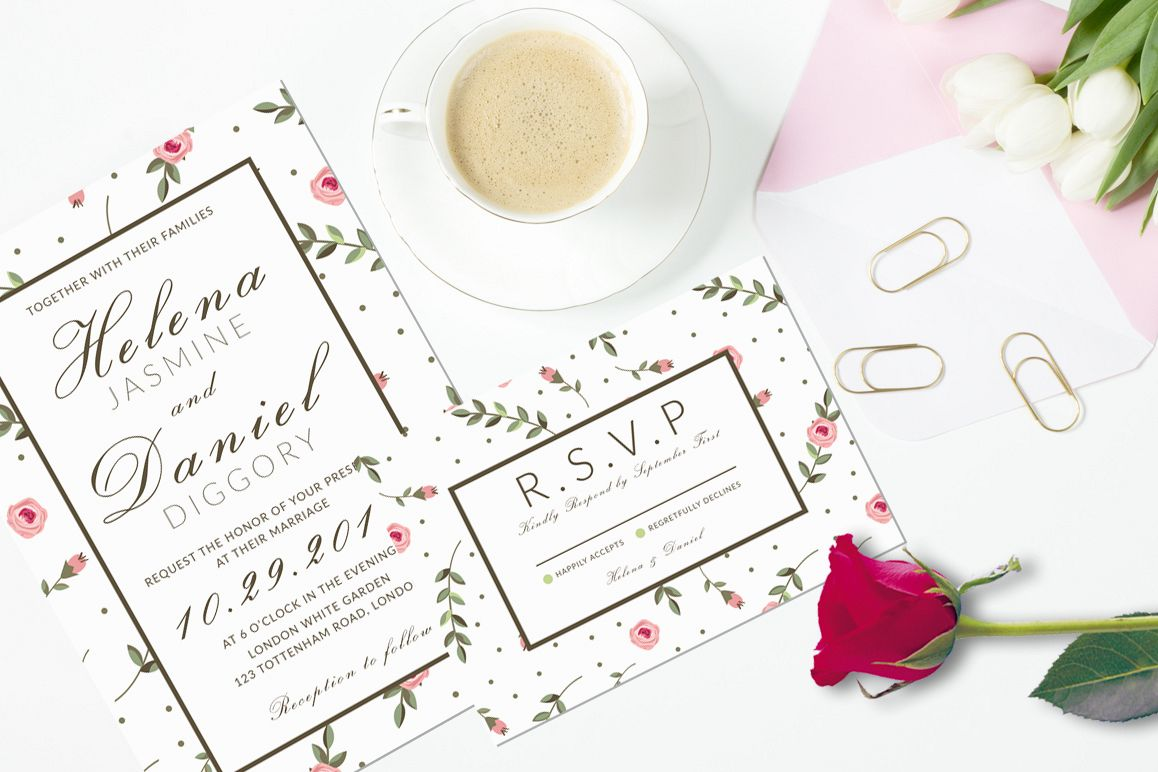 Minimal Floral Wedding Invitation example image 1