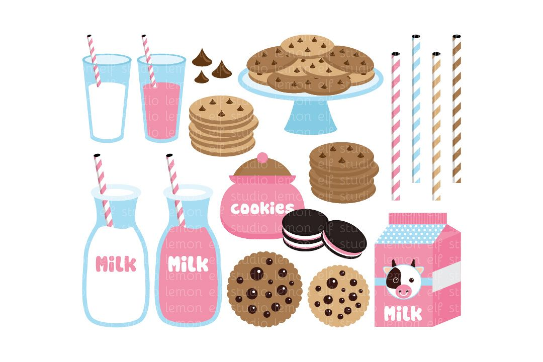 Cookies and Milk-Digital Clipart (LES.CL42B) example image 1