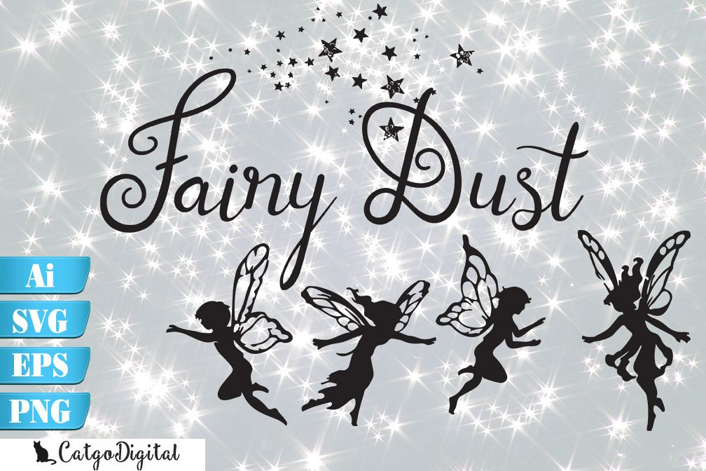 Fairy Silhouettes with Words SVG EPS Ai PNG example image 1
