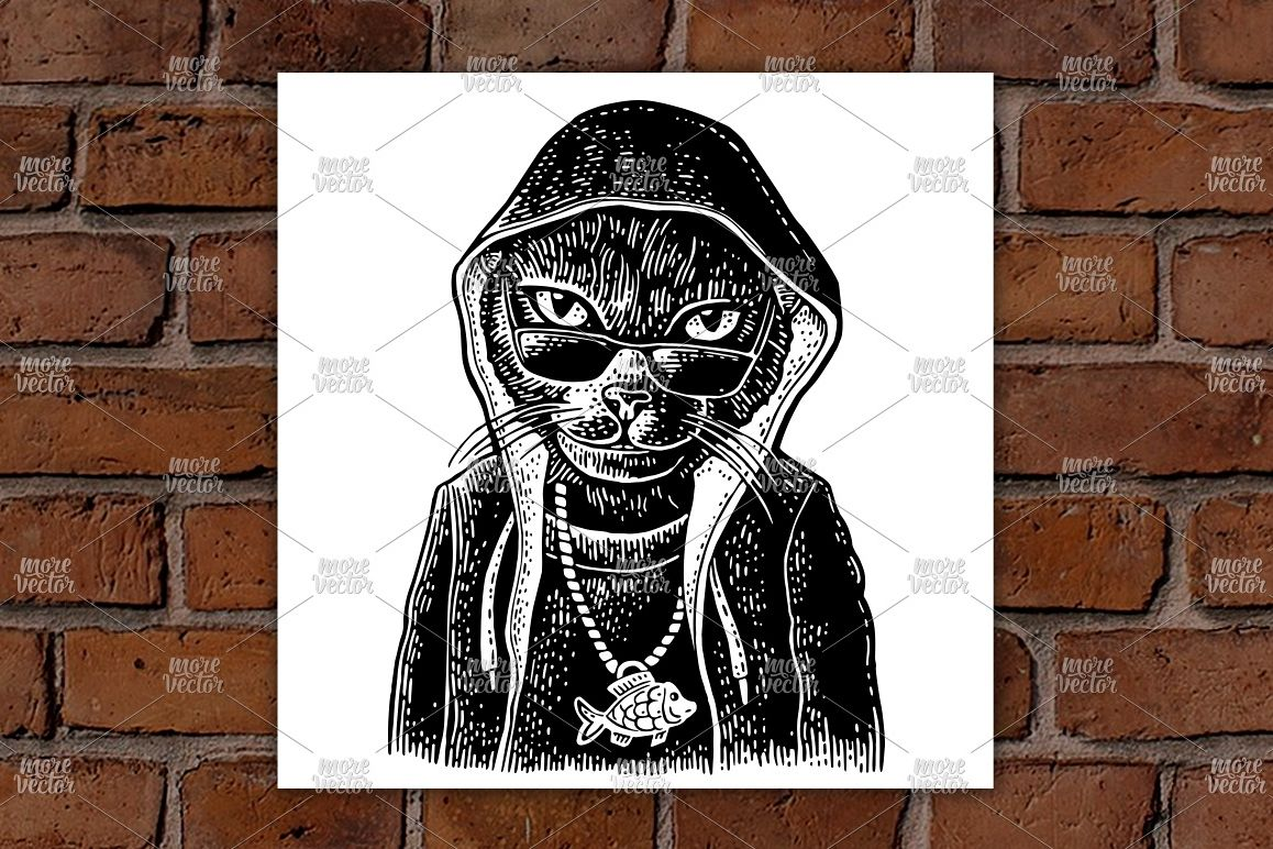 Cat rapper dressed in hoodie, necklace with fish engraving example image 1