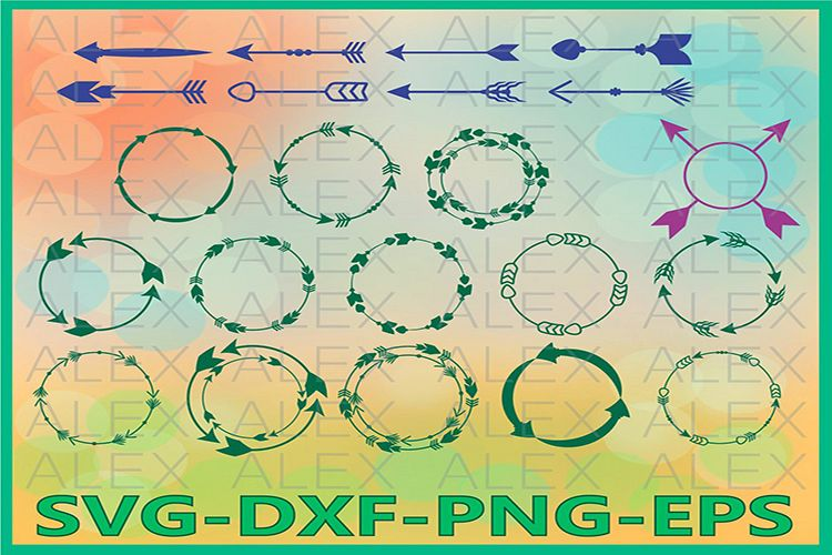 Arrow Svg, Arrow Circle Frame SVG File, Valentine Arrow example image 1