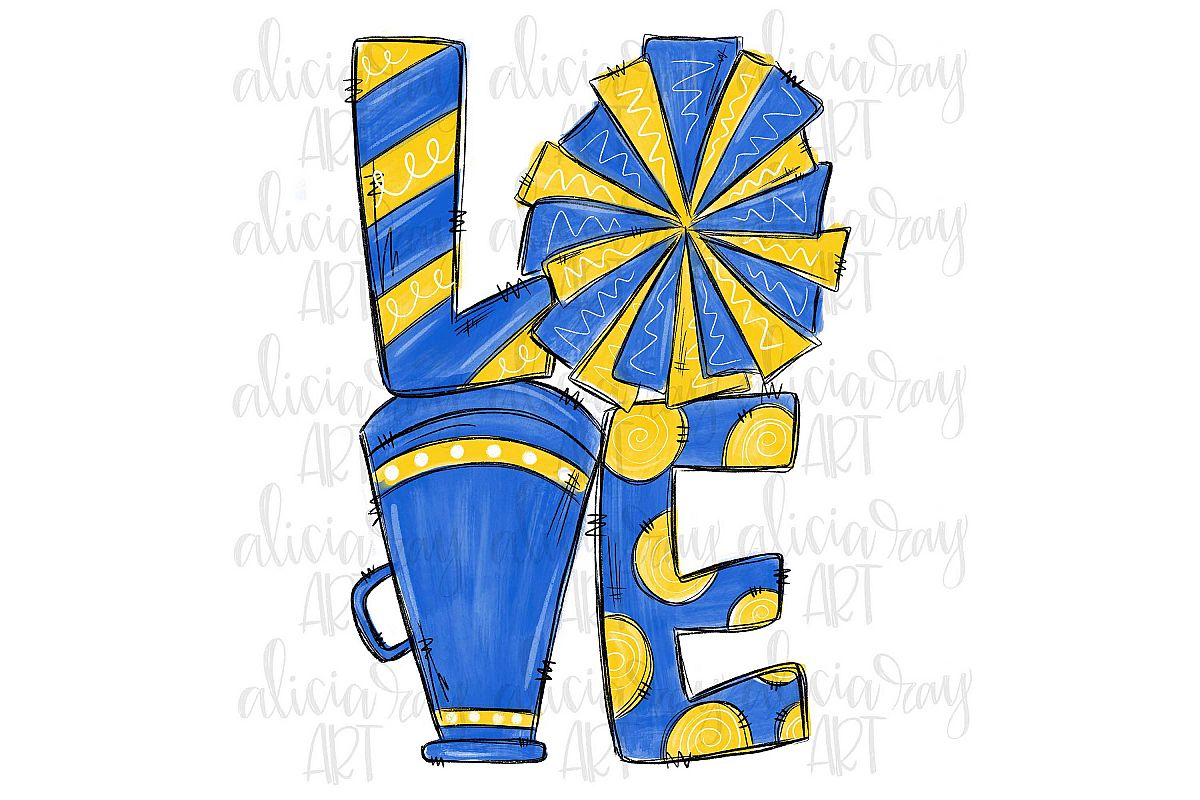 Cheer Love Blue and Yellow example image 1