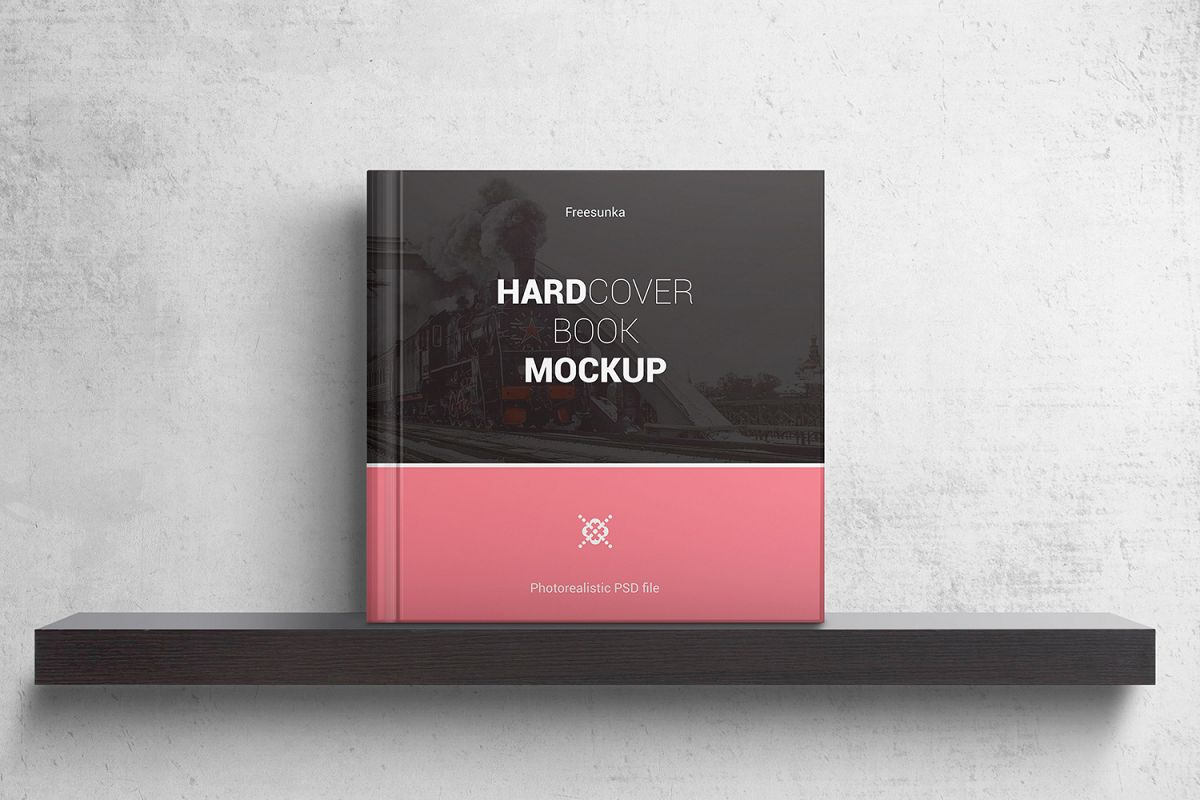 Square Hardcover Book Mockups example image 1