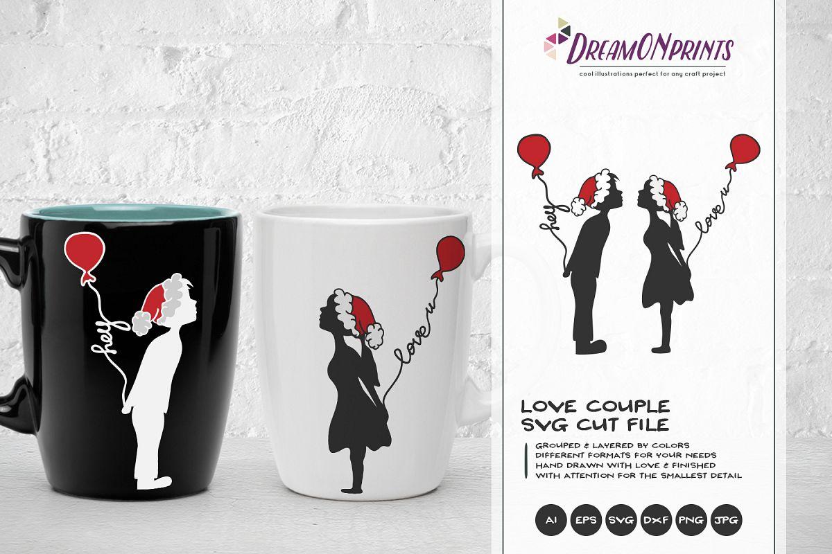 Love Couple SVG | Kissing Boy & Girl with Christmas Hats example image 1