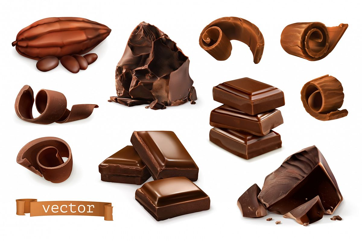 Chocolate bar, chocolate shavings, pieces, cocoa, vector set example image 1