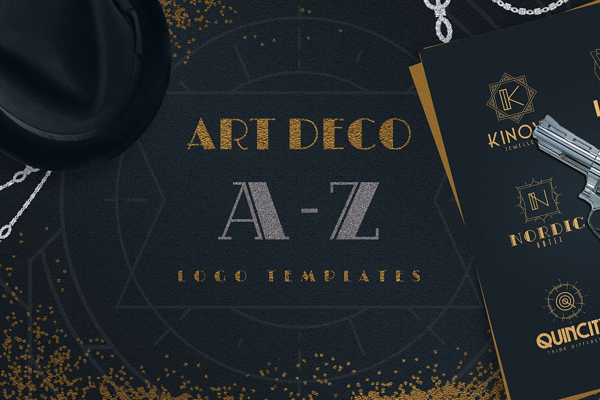 art deco a z logo templates