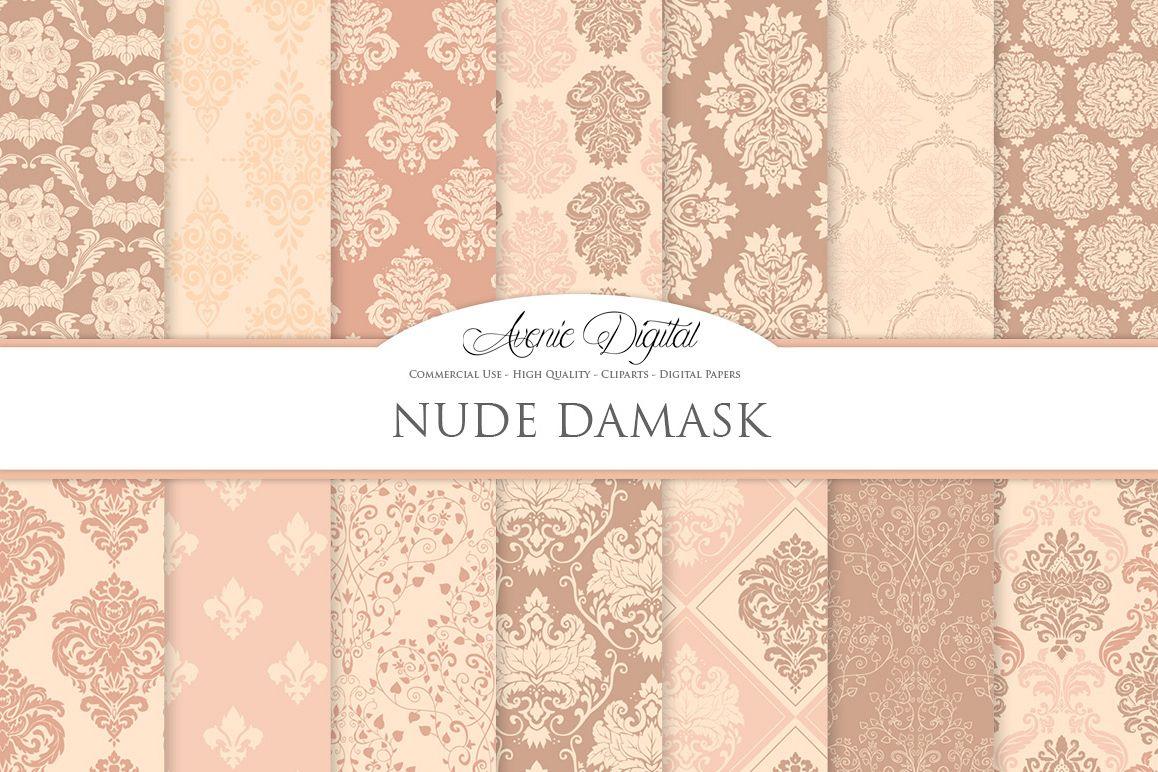 28 Nude Damask Patterns - Wedding Seamless Digital Papers Bundle example image 1