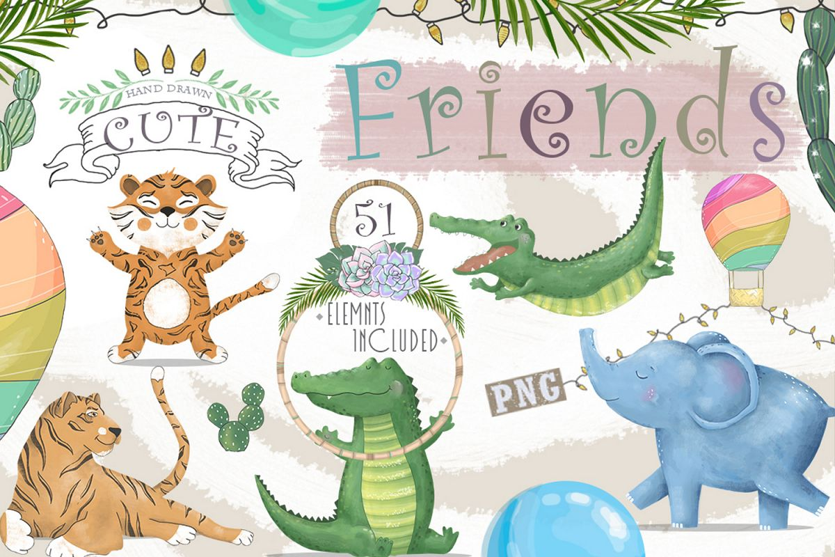 Cute Friends Graphic Animals example image 1