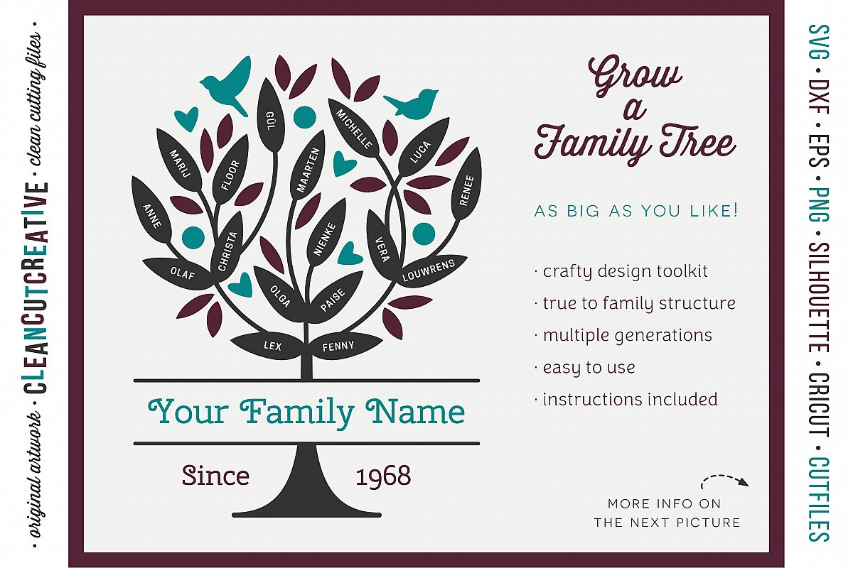Grow a FAMILY TREE! - crafter design toolkit - SVG cutfiles example image 1