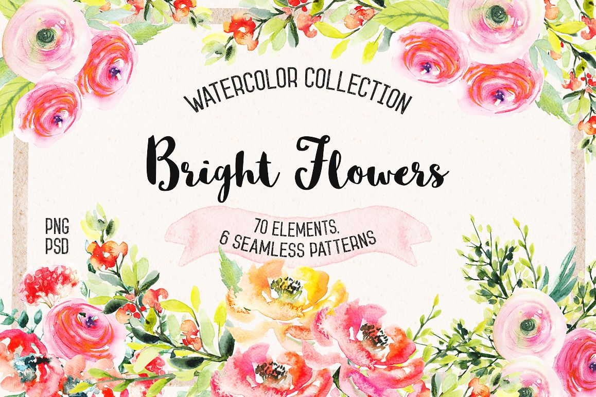 Watercolor Bright Flowers example image 1