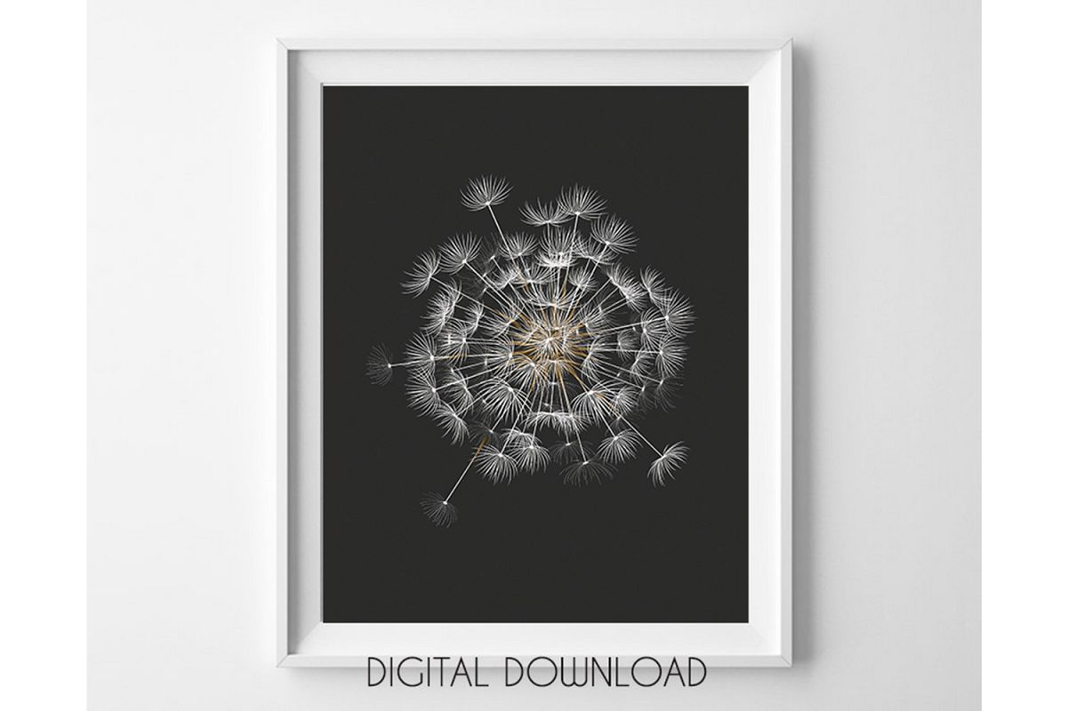 Dandelion Printable, Black Background Botanical Prints example image 1