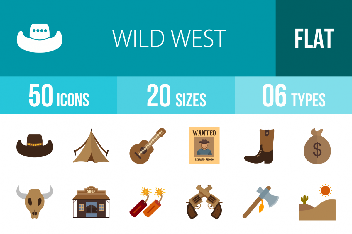 50 Wild West Flat Multicolor Icons example image 1