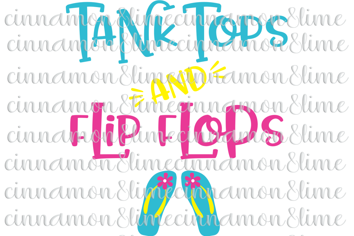 Tank Tops and Flip Flops SVG example image 1