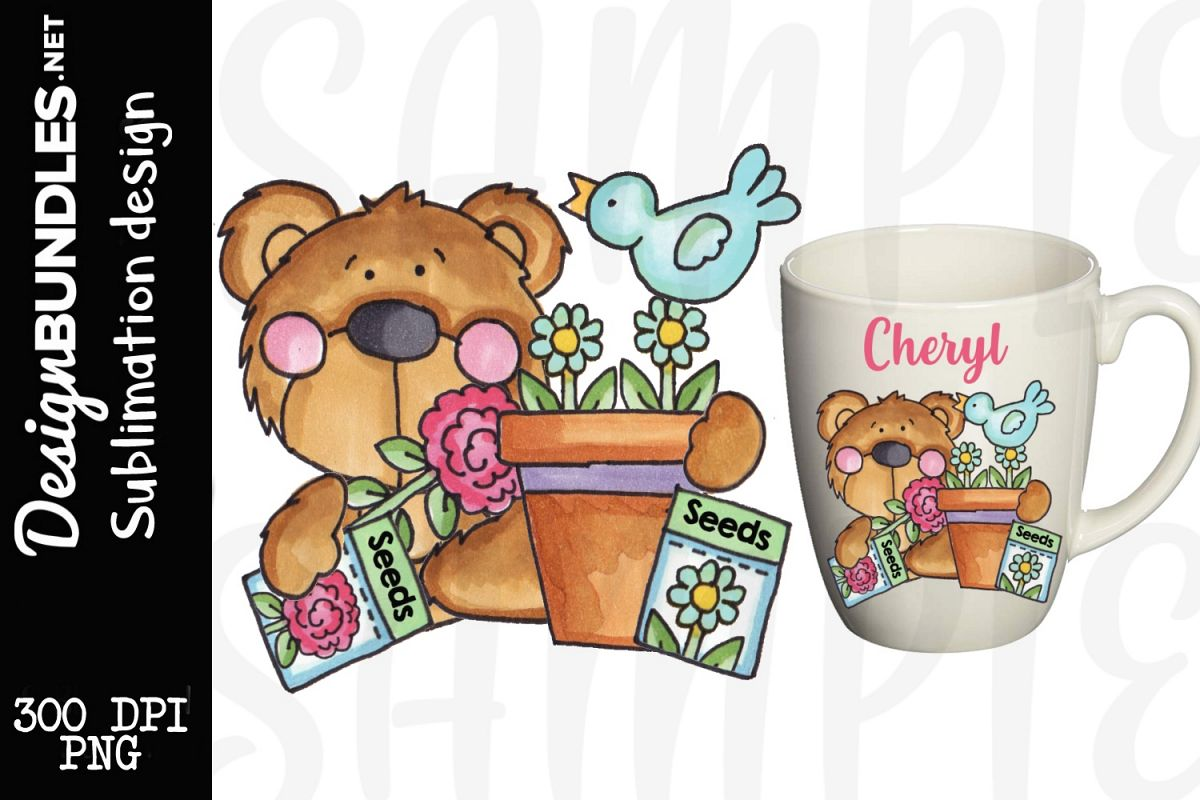 Garden Bear Sublimation Design example image 1