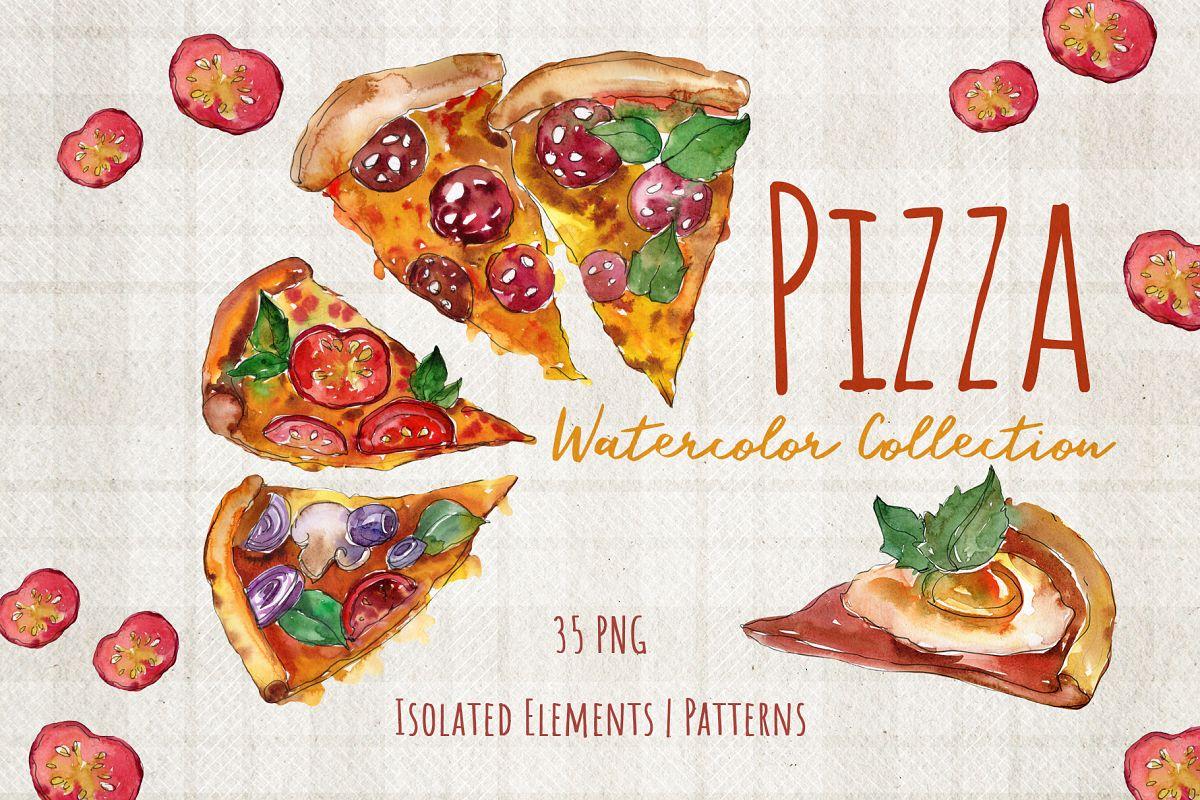 Hawaiian Pizza Watercolor png example image 1
