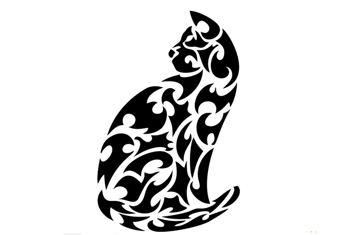 SVG And PNG Cutting Files, Cat, Mandala, Clipart Example Image