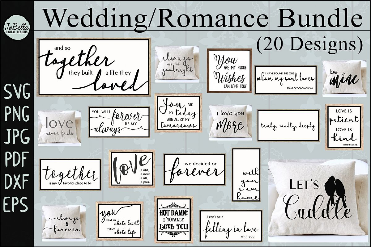 Wedding and Romance SVG Bundle, Sublimation PNGs, and Prints example image 1