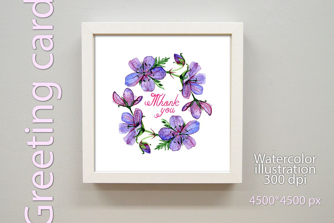 Watercolor Thank you greeting card example image 1