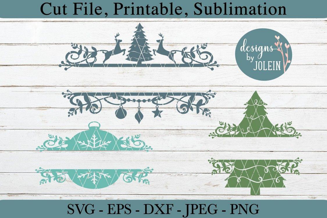 Christmas Designs.Split Christmas Designs Svg Png Eps Jpeg Dxf Sub