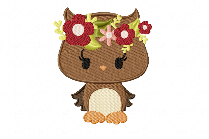 Owl Machine Embroidery Design in 2 sizes example image 1