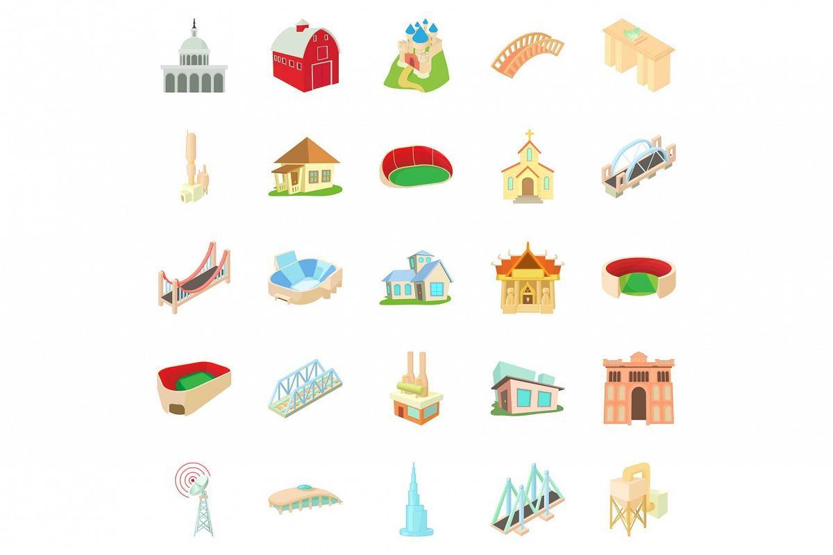 Building house icons set, cartoon style example image 1